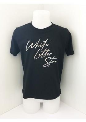 Black White Letter Star Tee - 9-11 YRS